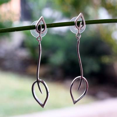 Sterling silver dangle earrings, 'New Life' - Leaf and Tree Sterling Silver Dangle Earrings