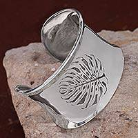 Featured review for Sterling silver cuff bracelet, Leaf Fossil