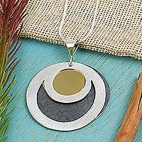Sterling silver pendant necklace, 'Maya Eclipse'
