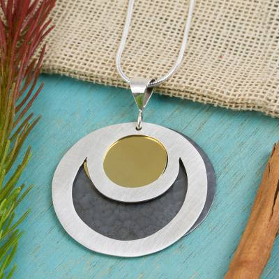 Sterling silver pendant necklace, 'Maya Eclipse' - Sterling silver pendant necklace