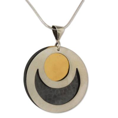 Sterling silver pendant necklace, 'Maya Eclipse' - Sterling silver pendant necklace