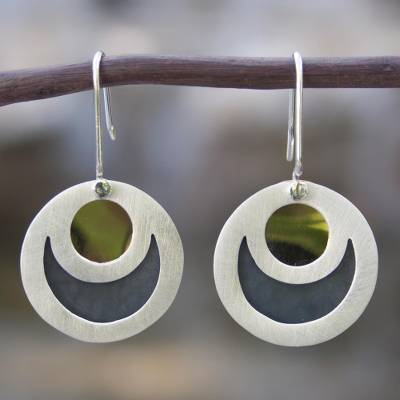 Sterling silver dangle earrings, 'Maya Eclipse' - Taxco Silver Brass Accent Dangle Earrings from Mexico