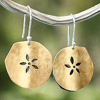Gold plated dangle earrings, 'Fossil Flower'