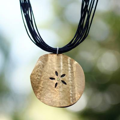 Gold plated flower necklace, 'Fossil Flower' - Handmade Gold Plated Pendant Necklace