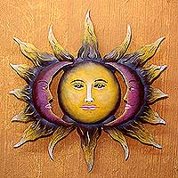 Hand Made Sun And Moon Steel Wall Art From Mexico   Beloved Sun | NOVICA