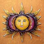 Hand Made Sun and Moon Steel Wall Art from Mexico, 'Beloved Sun'
