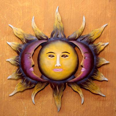 Hand Made Sun And Moon Steel Wall Art From Mexico Beloved Sun Novica