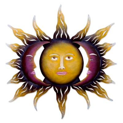 Steel wall art, 'Beloved Sun' - Hand Made Sun and Moon Steel Wall Art from Mexico