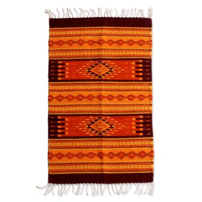 Zapotec wool rug, 'Mexican Sunset' (2x3.5) - Zapotec Wool Orange and Yellow Area Rug (2x3.5)
