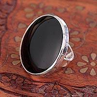 Obsidian large cocktail ring, 'New Moon over Taxco' - Outsized Mexican Fine Silver Cocktail Obsidian Ring