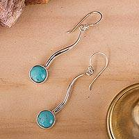 Turquoise drop earrings, 'Taxco Eclipse'