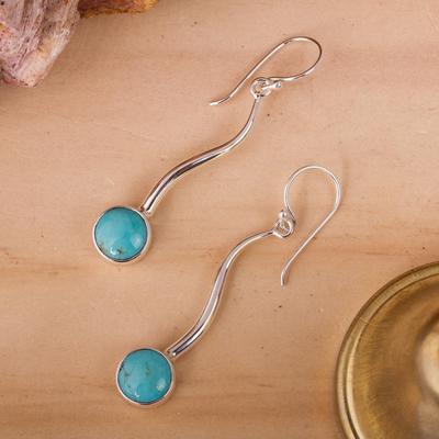 Turquoise drop earrings, 'Taxco Eclipse' - Turquoise drop earrings