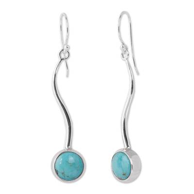 Turquoise drop earrings, 'Taxco Eclipse' - Turquoise drop earrings