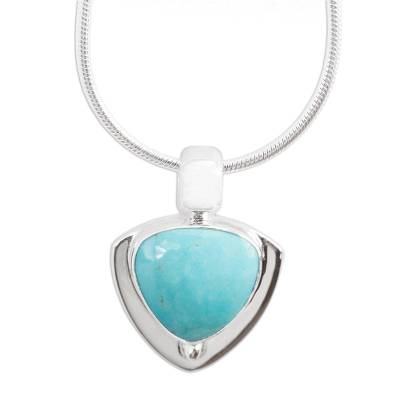 Turquoise pendant necklace, 'Pyramid of Friendship' - Modern Sterling Silver and Natural Turquoise Necklace