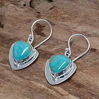 Turquoise dangle earrings, 'Pyramids of Friendship' - Modern Fine Silver and Turquoise Earrings