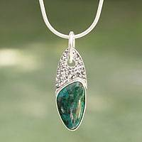 Chrysocolla pendant necklace, 'Peaceful Wisdoms' - Chrysocolla pendant necklace