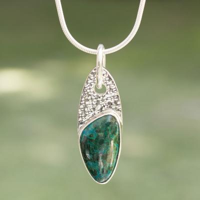 Chrysocolla pendant necklace, 'Peaceful Wisdoms' - Chrysocolla pendant necklace