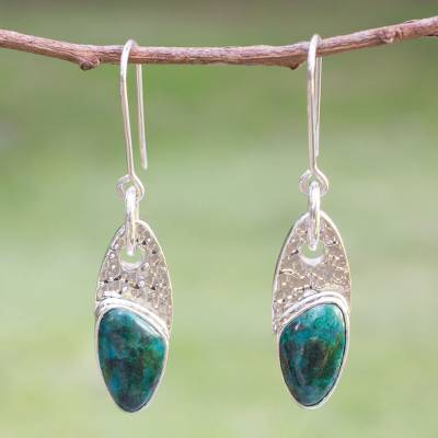 Chrysocolla dangle earrings, 'Peaceful Wisdoms' - Mexico Silver 950 Chrysocolla Dangle Earrings