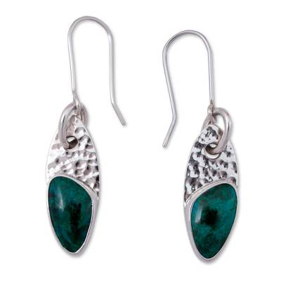 Mexico Silver 950 Chrysocolla Dangle Earrings