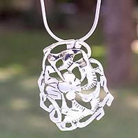 Sterling silver flower necklace, 'Hummingbird's Nectar'