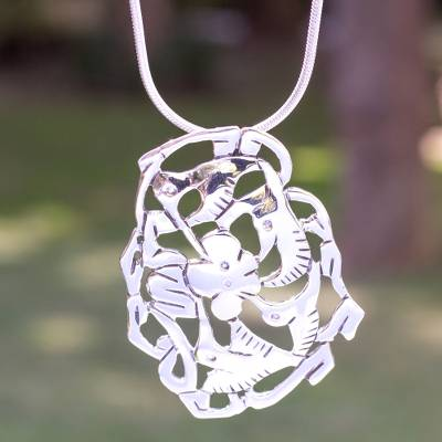 Sterling silver flower necklace, 'Hummingbird's Nectar' - Unique Sterling Silver Bird Necklace