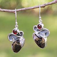 Garnet dangle earrings, 'Aztec Gargoyle' - Handcrafted Mexican Modern Silver Gemstone Earrings