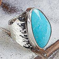 Turquoise cocktail ring, 'Taxco Moon' - Unique Taxco Silver Cocktail Natural Turquoise Ring