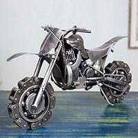 Auto parts sculpture, 'Rustic Motorcross Bike' - Recycled Metal Motorcycle Sculpture from Mexico