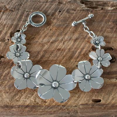 Sterling silver flower bracelet, 'Floral Fiesta' - Collectible Floral Fine Silver Link Bracelet