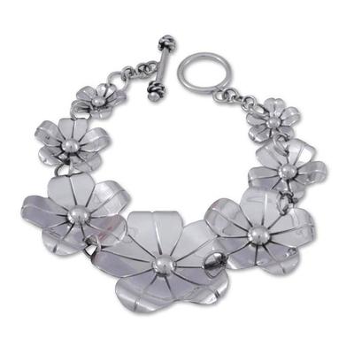 Collectible Floral Fine Silver Link Bracelet