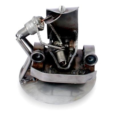 Auto parts sculpture, 'Rustic Car Mechanic' - Recycled Auto Parts Sculpture Metal Art Mexico