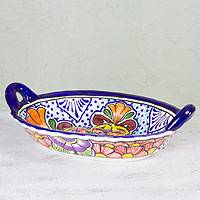 Ceramic bowl, 'Wilderness' - Mexican Talavera Style Floral Ceramic Oval Serving Bowl