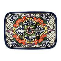 Ceramic serving plate, 'Regal Flora' - Talavera Style Floral Square Serving Platter Hand Made