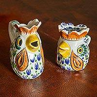 Majolica ceramic sugar bowl and creamer, 'Roosters'