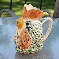 Majolica ceramic pitcher, 'Rooster' - Majolica Ceramic Bird Pitcher Handmade Folk Art Mexico