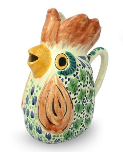 Majolica Ceramic Bird Pitcher Handmade Folk Art Mexico