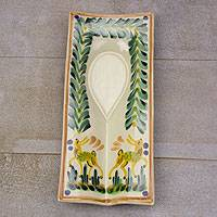 Majolica ceramic spoon rest, 'Forest Deer' - Majolica ceramic spoon rest