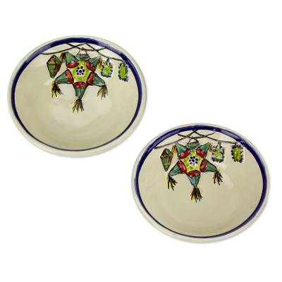 Majolica ceramic bowls, 'Piñatas' (pair) - Artisan Crafted Ceramic Two Dinnerware Bowls