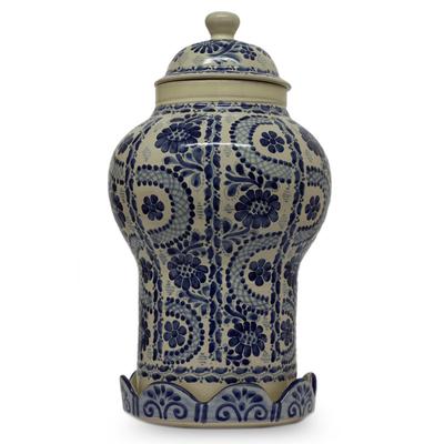 Ceramic jar, 'Path to Puebla' - Authentic Mayolica Ceramic Vase and Lid from Mexico