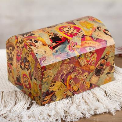 Decoupage chest, 'Happy Catrina' - Day of the Dead Decorative Box