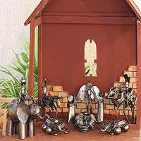 Auto part nativity scene, 'Rustic Christmas' (set of 9) - Auto part nativity scene (Set of 9)