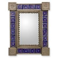 Tin and ceramic wall mirror, 'Colonial Blue' (small) - Small Colonial Blue Tiled Mirror Tin Ceramic Handmade Mexico