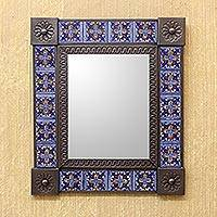 Tin and ceramic wall mirror, 'Royal Blue Bloom' (medium) - Medium Tin and Blue Ceramic Wall Mirror from Mexico