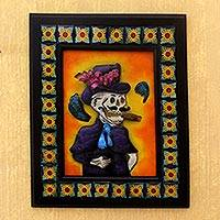 Iron and Talavera ceramic wall adornment, 'Handsome Catrin' - Artisan Crafted Day of the Dead Ceramic Steel Wall Art