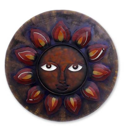 Fair Trade Red and Purple Sun Painted Iron Wall Art from Mexico