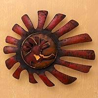 Iron wall adornment, 'Kokopelli Serenades the Sun' - Handcrafted Musical Sun Wall Art
