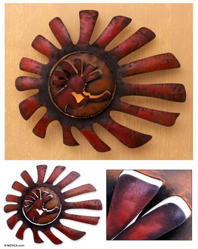 Handcrafted Musical Sun Wall Art Kokopelli Serenades The Sun