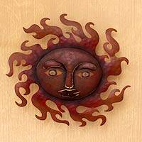 Iron wall adornment, 'Sunny Smile' - Iron wall adornment
