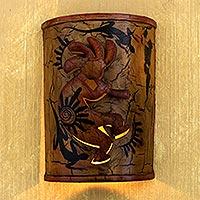 Iron wall candleholder, 'Kokopelli's Cave' - Iron wall candleholder