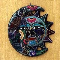 Ceramic wall adornment, 'Eclipse of Dance' - Handmade Sun and Moon Ceramic Wall Art
